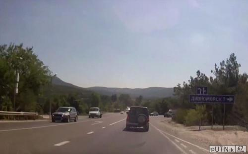 Поворот на Дивноморск к скале Парус